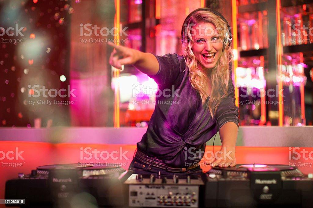 Portrait of female DJ  stock photo