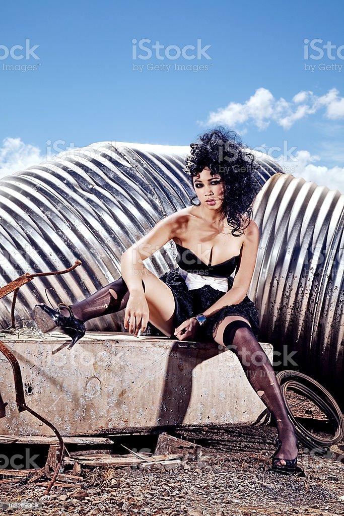 Portrait of Female Fashion Model Posing Outside royalty-free stock photo