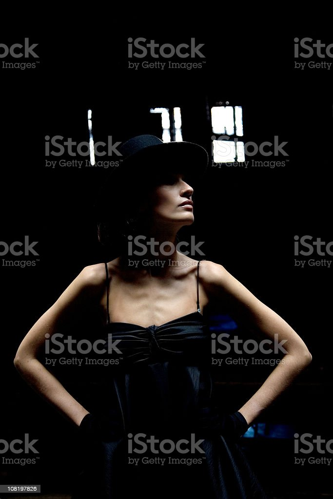 Portrait of Female Fashion Model Wearing Hat, Low Key royalty-free stock photo