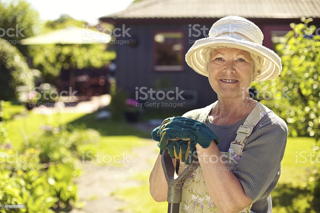 Portrait of female gardener in garden stock photo