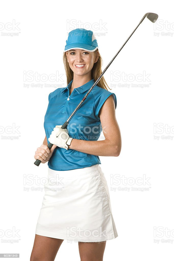 Portrait of female golfer in blue with gold club stock photo