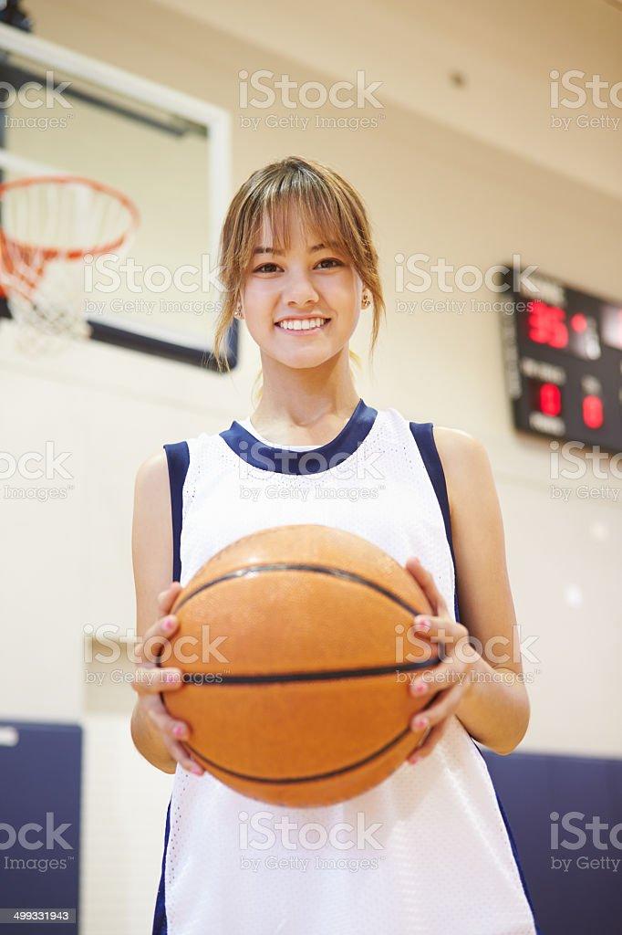Portrait Of Female High School Basketball Player stock photo