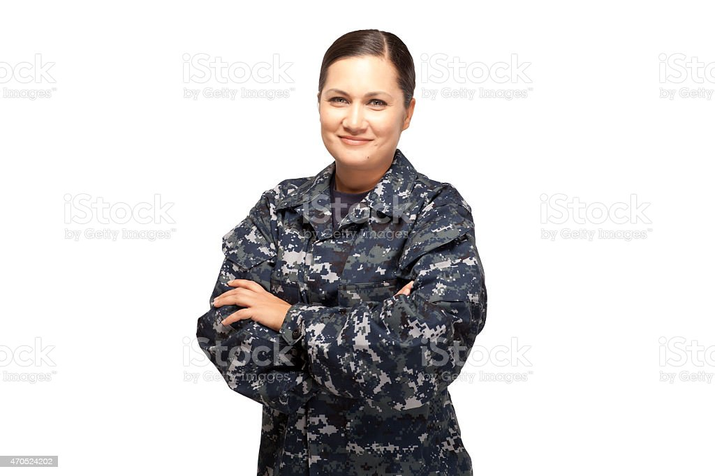 Portrait of female in navy uniform against white background stock photo