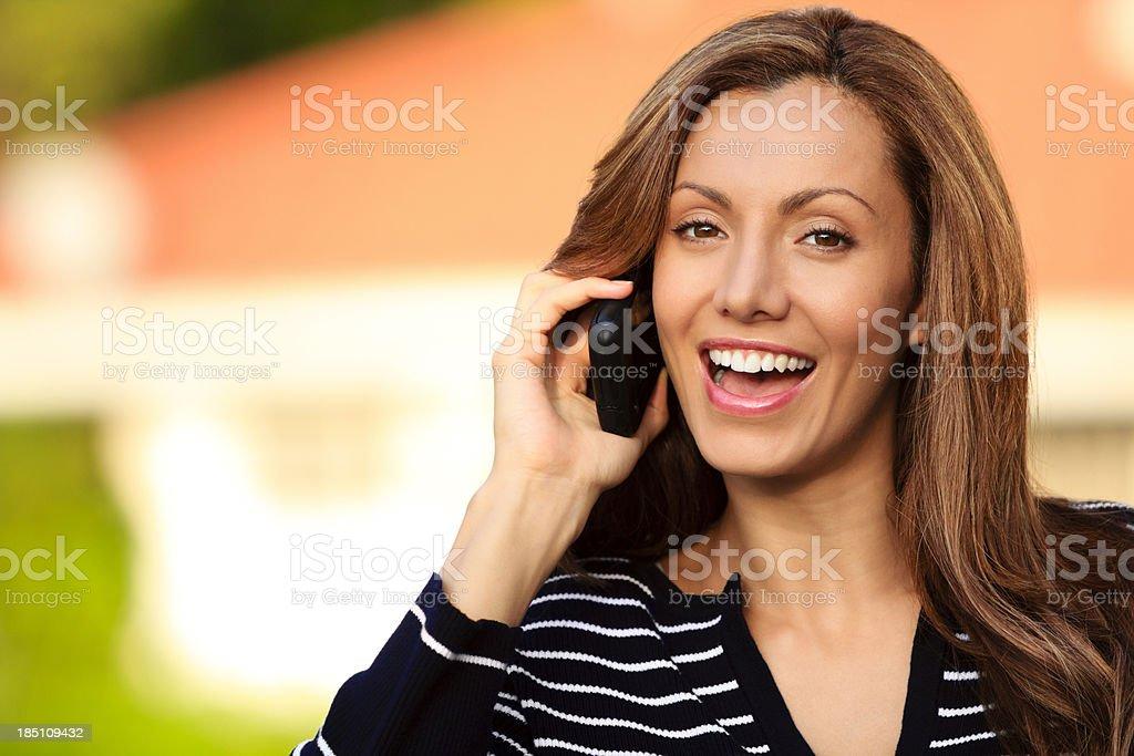Portrait of female on phone stock photo