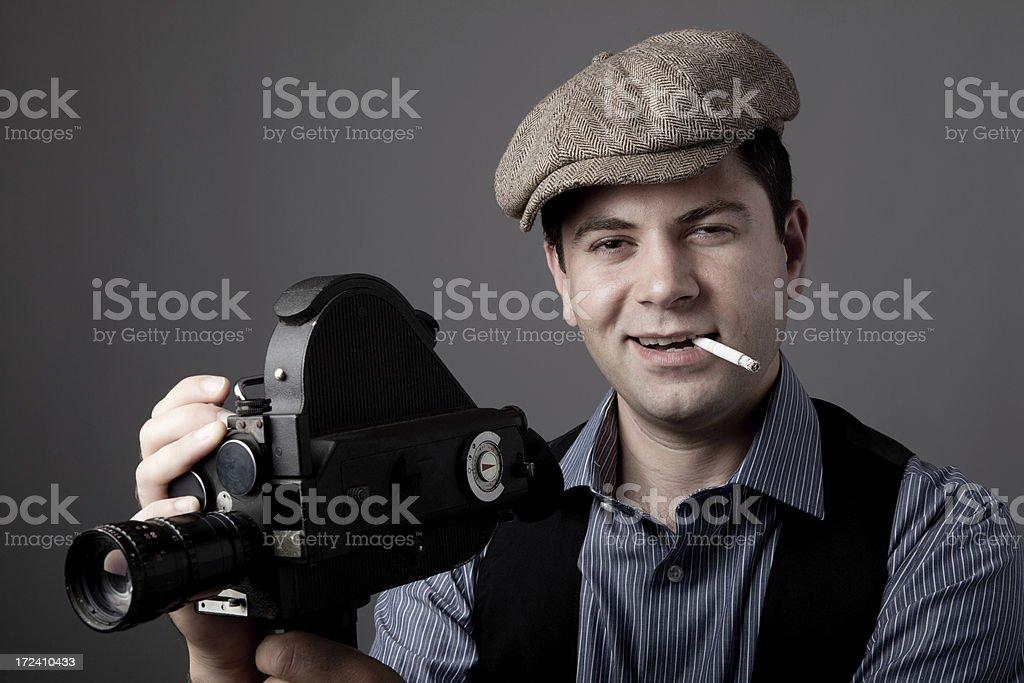 Portrait of film director behind camera stock photo