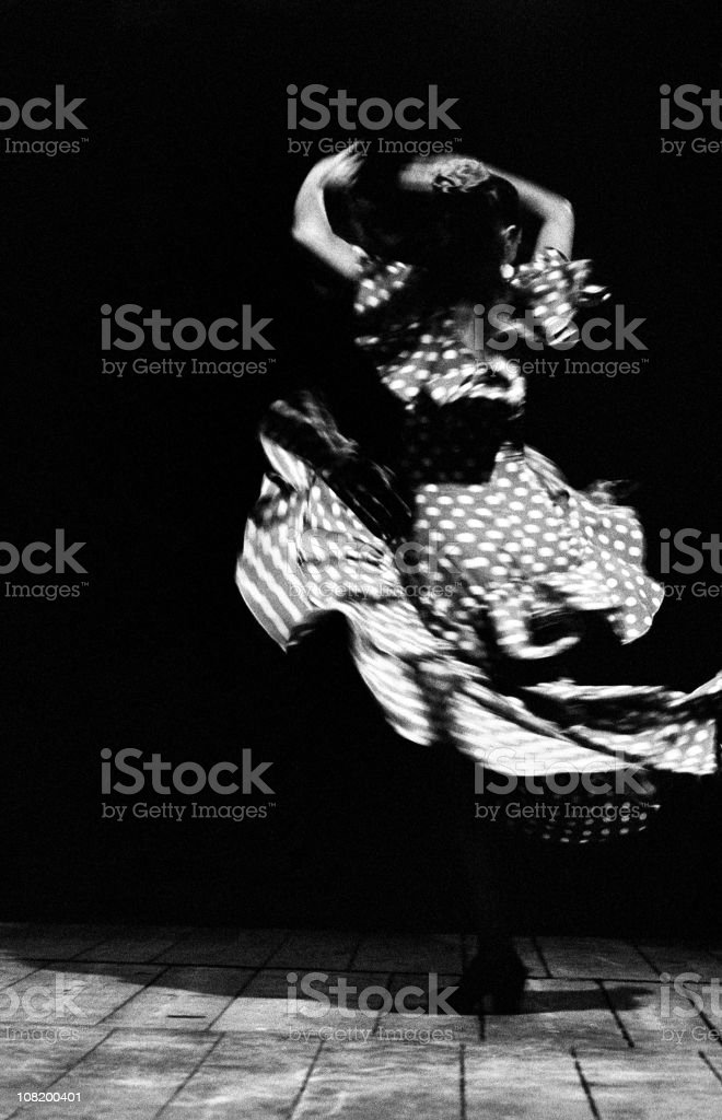 Portrait of Flamenco Dancer, Black and White stock photo