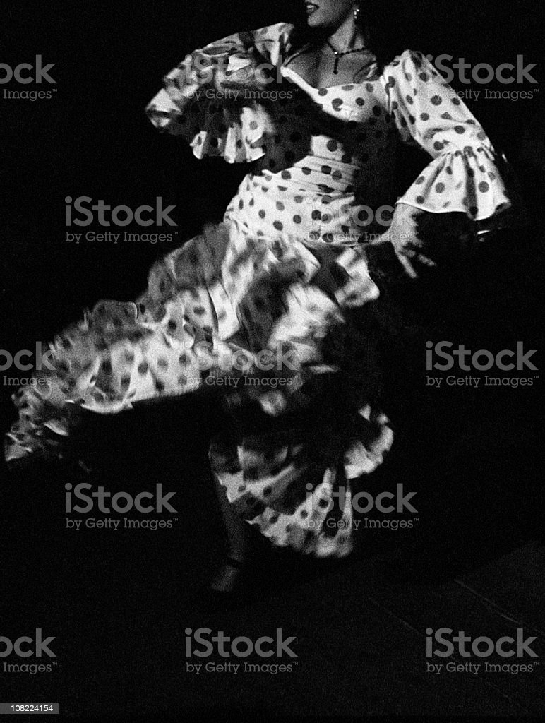 Portrait of Flamenco Dancer, Black and White stock photo