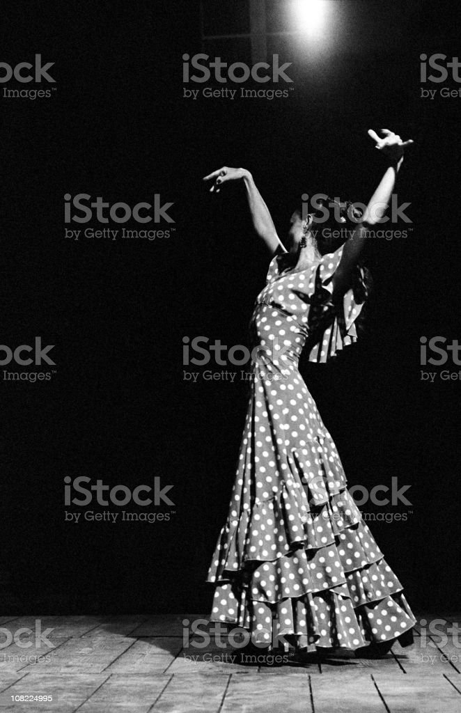 Portrait of Flamenco Dancer, Black and White royalty-free stock photo