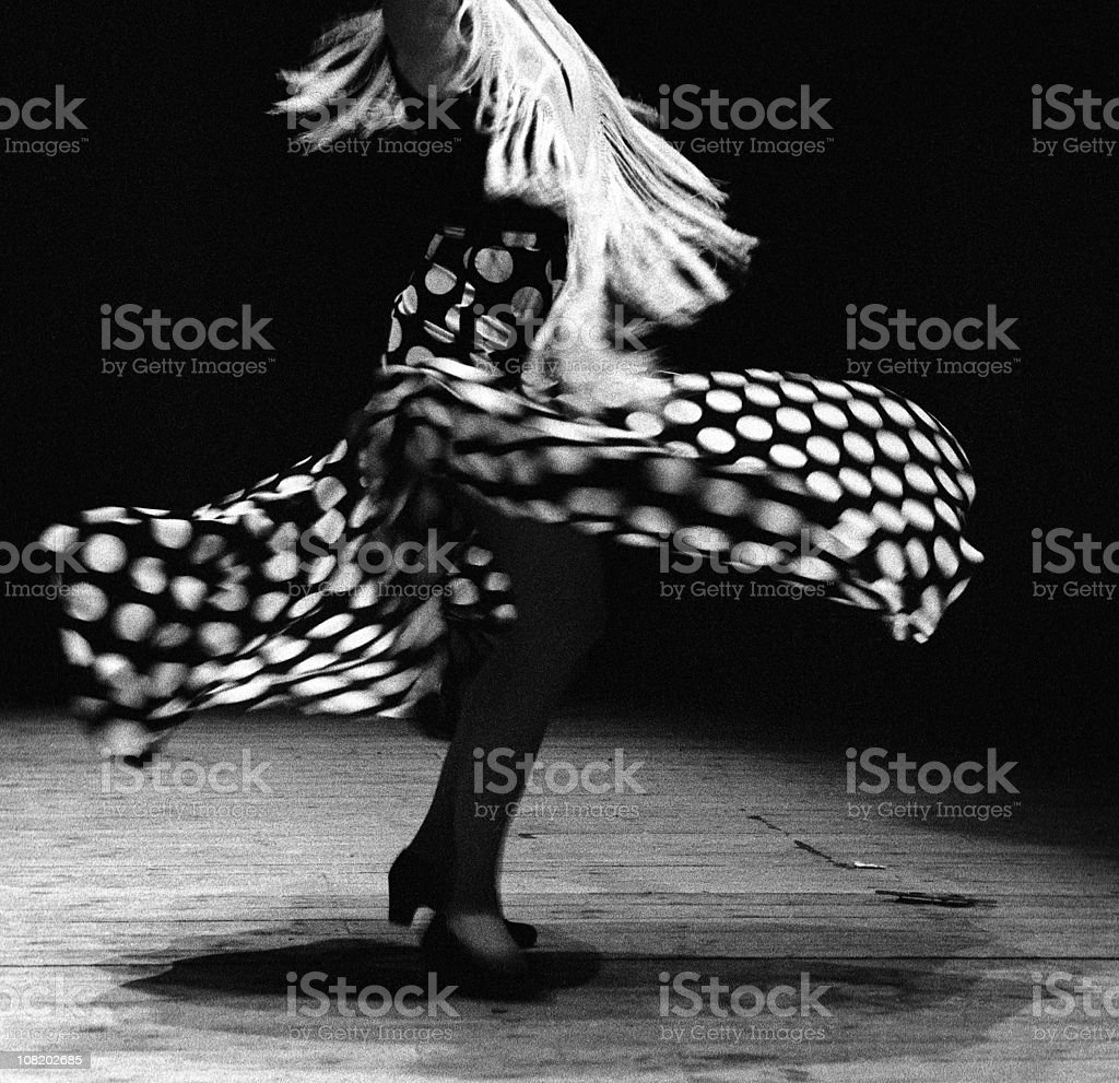Portrait of Flamenco Dancer Spinning, Black and White stock photo