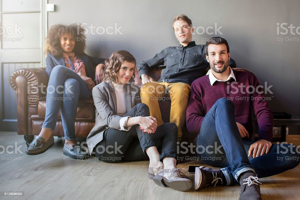 Portrait of four creative business people stock photo