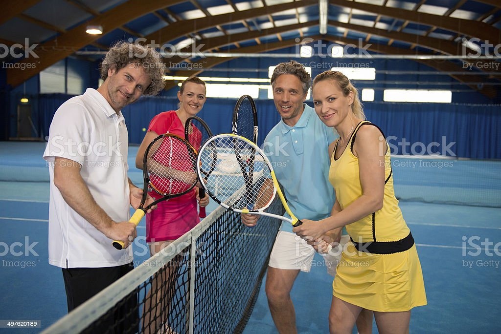 Portrait Of Four Indoor Tennis Players royalty-free stock photo