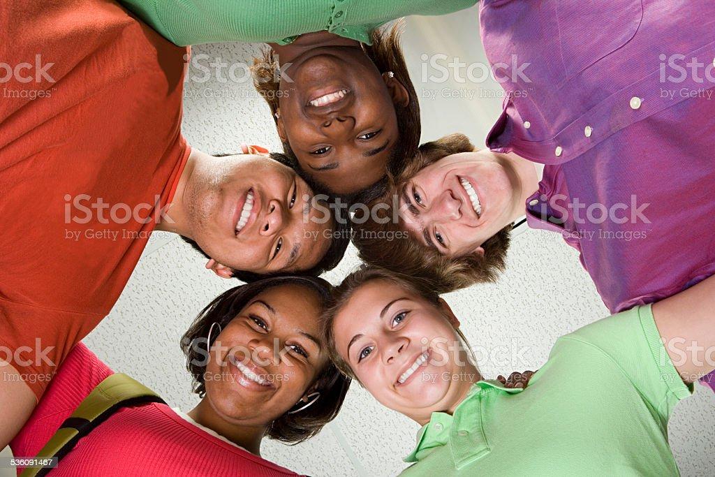 Portrait of four students stock photo
