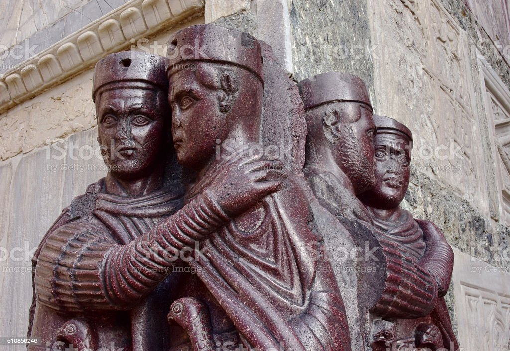 Portrait of Four Tetrarchs in Venice, Italy stock photo
