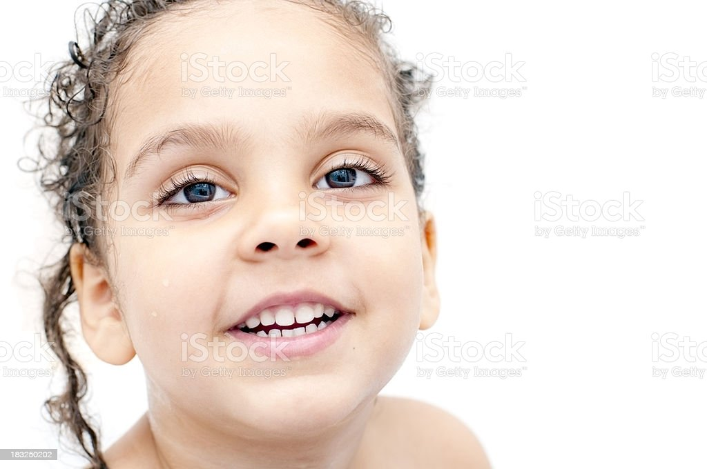 Portrait of Four Years Old Girl in Bathroom royalty-free stock photo