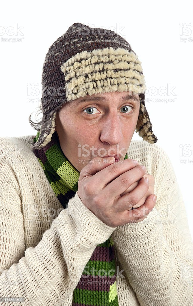 Portrait of freezing young man royalty-free stock photo