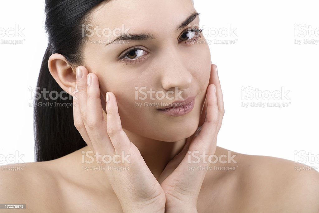 Portrait of Fresh and Beautiful brunette woman royalty-free stock photo