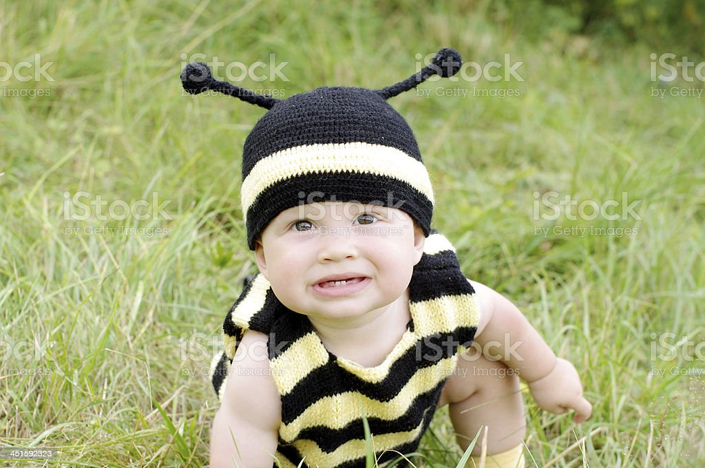 portrait of funny baby in bee costume on the meadow stock photo