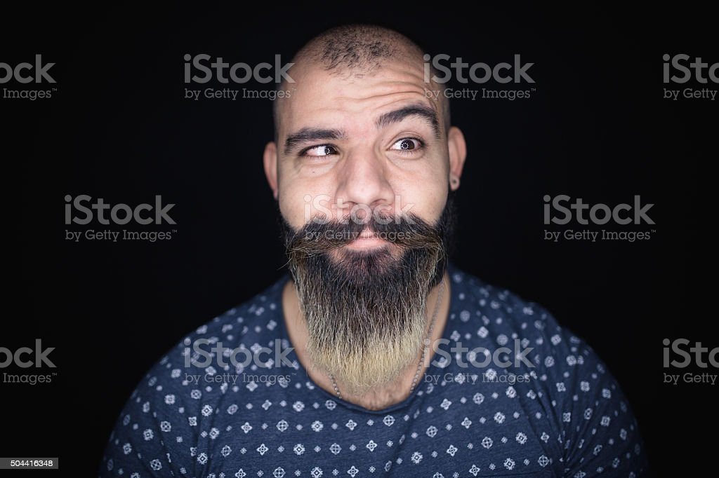 Portrait of funny hipster stock photo