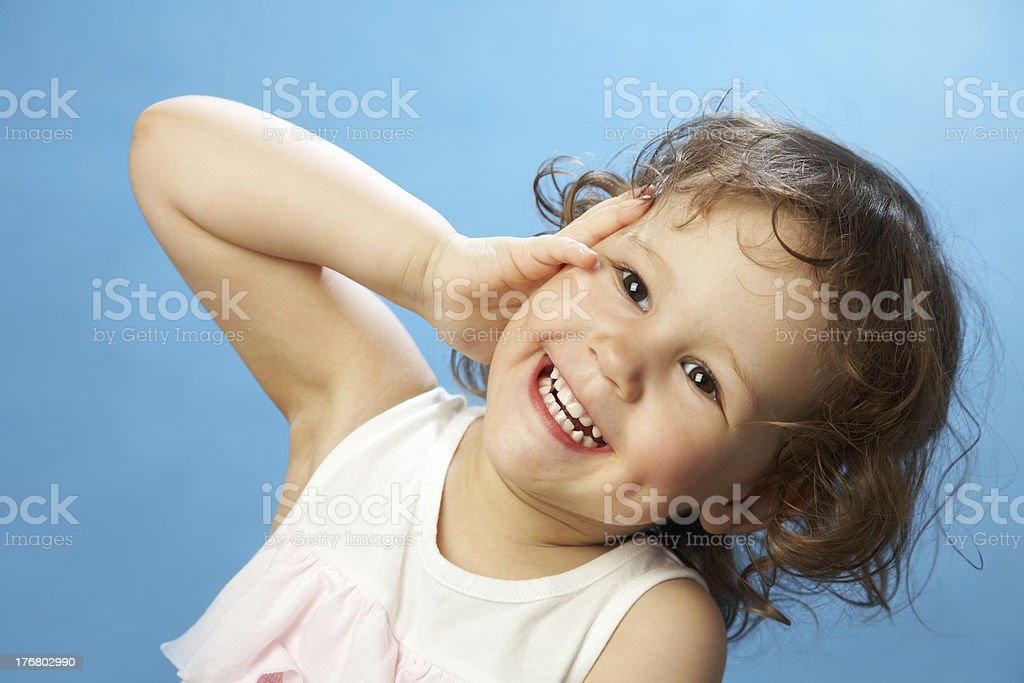 Portrait of funny lovely little girl stock photo