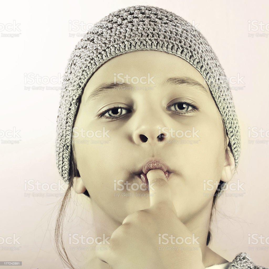 Portrait of funny lovely little girl royalty-free stock photo