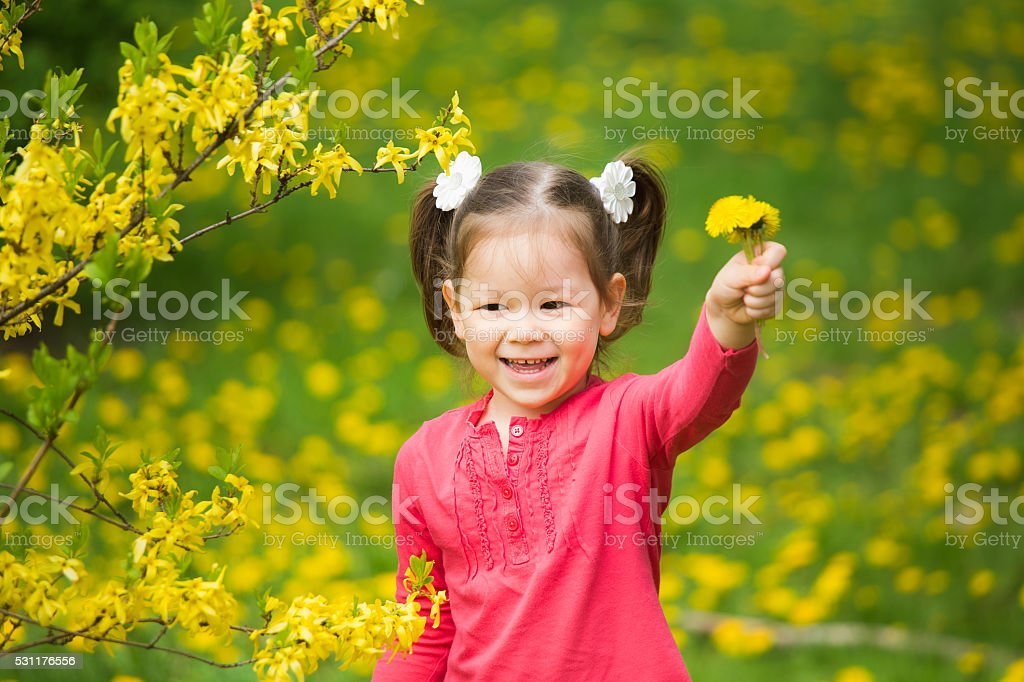 Portrait of funy little girl with yellow dandelions in hand stock photo