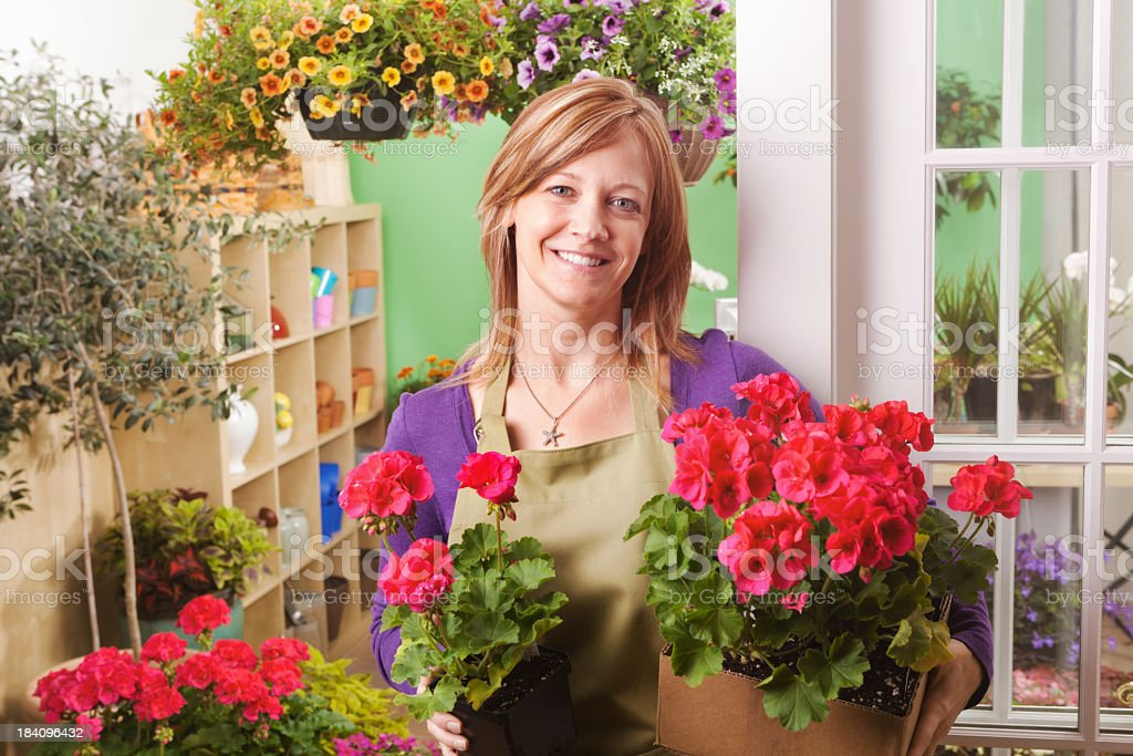 Portrait of Garden Center Flower Shop Shopkeeper Hz royalty-free stock photo