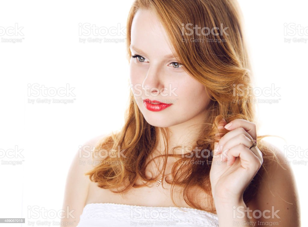 portrait of ginger young woman stock photo