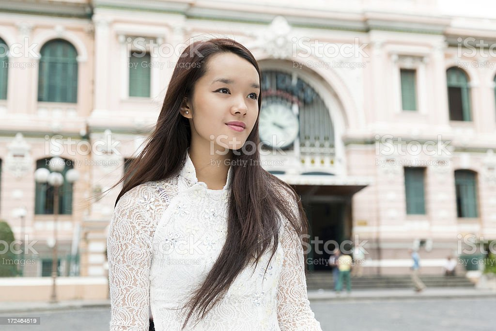 Portrait of Girl at Saigon Central Post Office stock photo