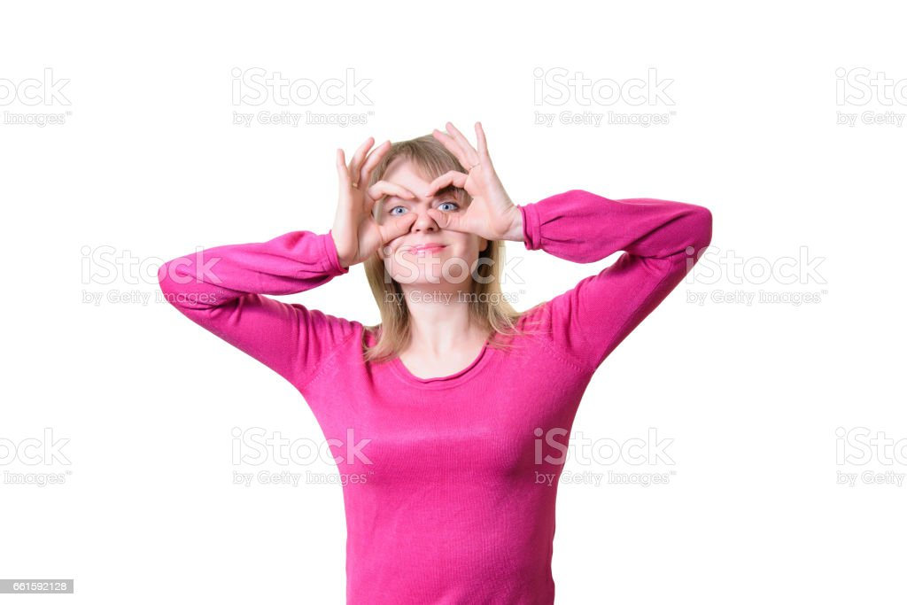 Portrait of girl glasses from hands stock photo