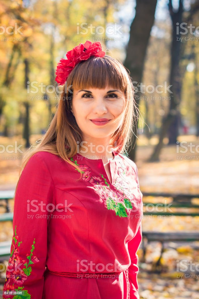 portrait of girl in autumn stock photo