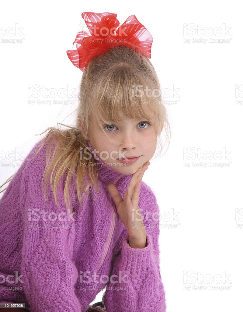 Portrait of girl in knitted sweater. royalty-free stock photo