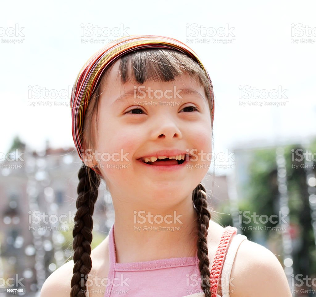 Portrait of girl in the city stock photo