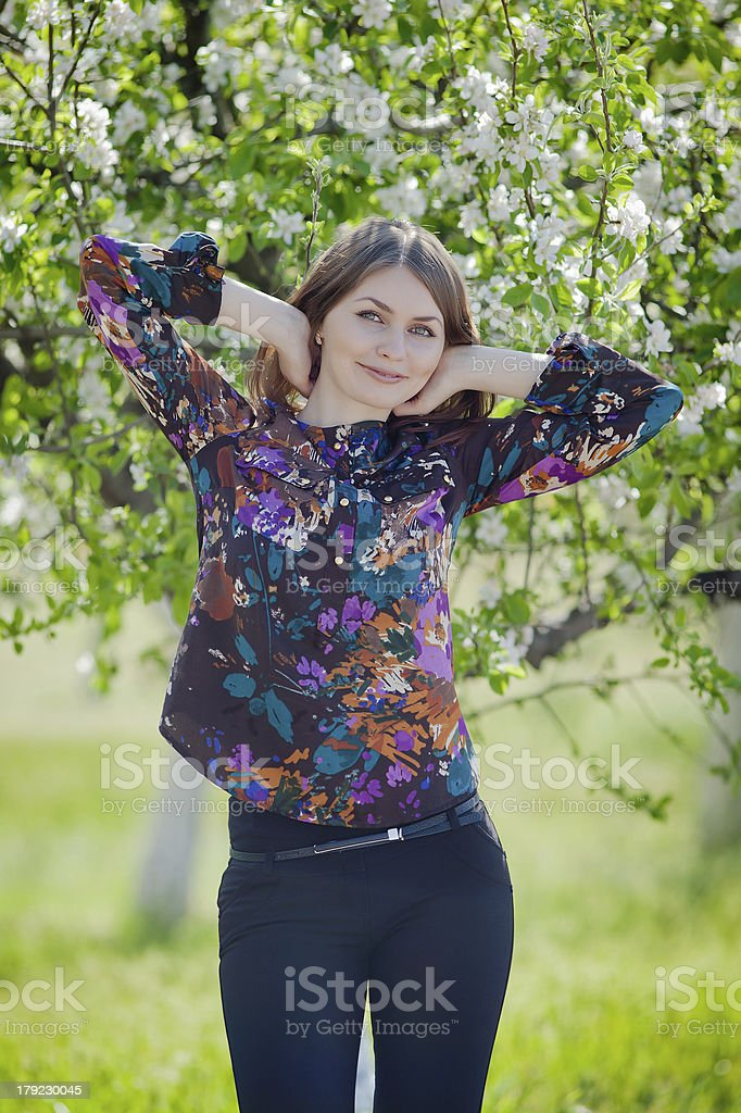 Portrait of girl in the garden royalty-free stock photo