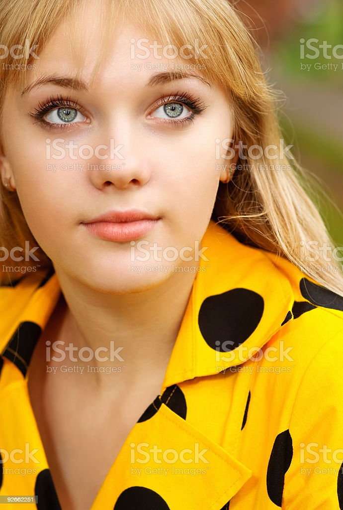 Portrait of girl in yellow dress royalty-free stock photo