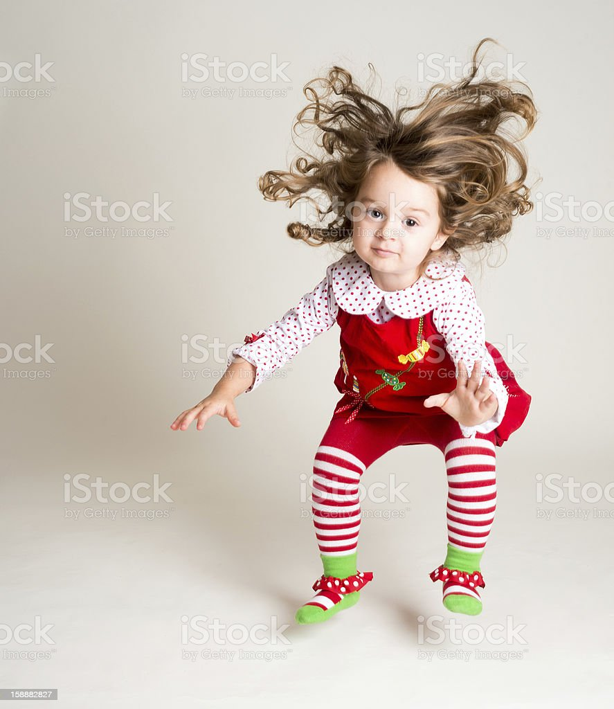 Portrait of Girl Jumping stock photo