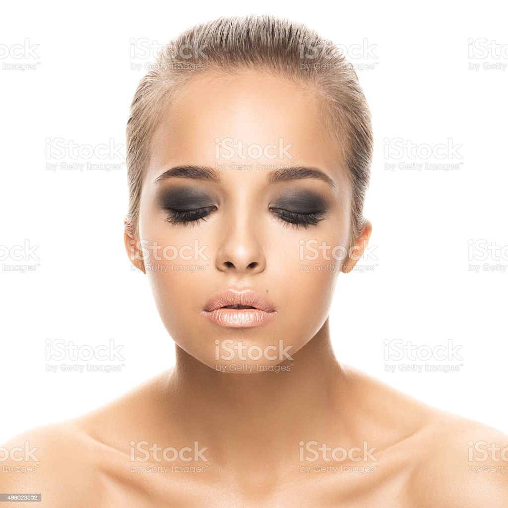 Portrait of girl on white background stock photo