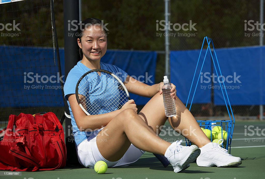 Portrait of girl tennis player royalty-free stock photo