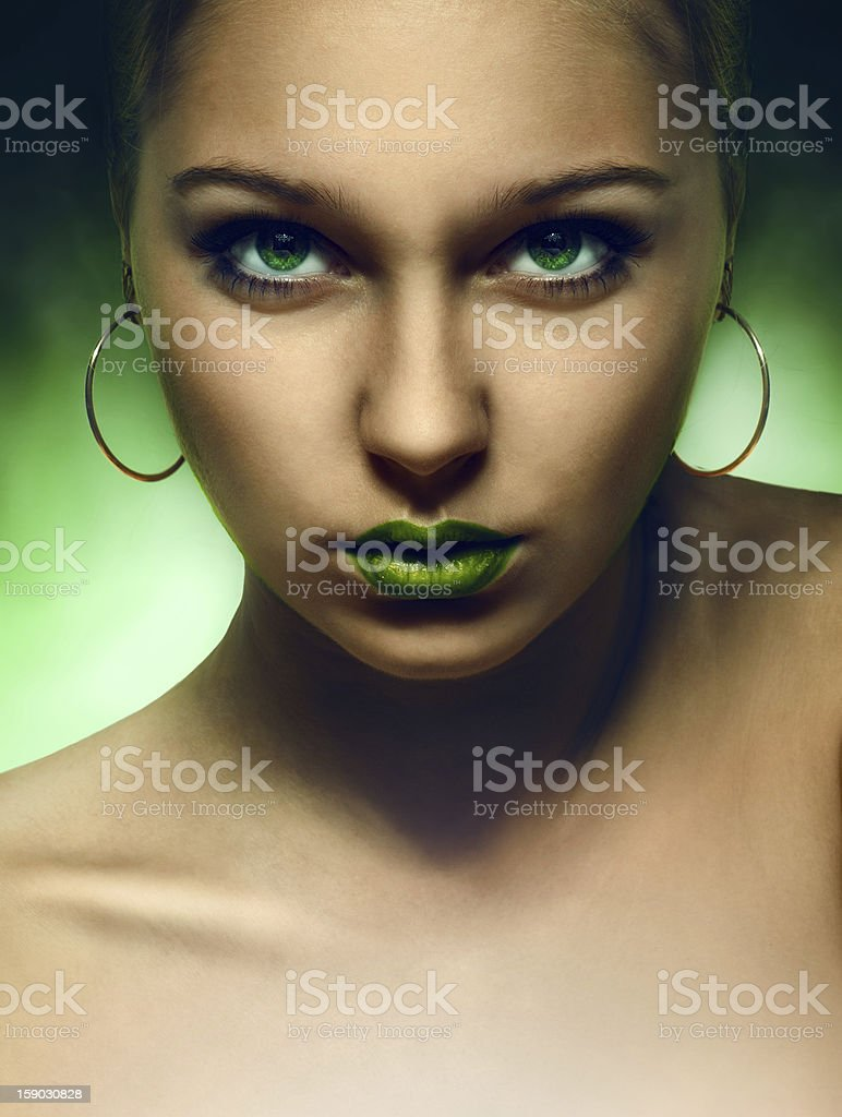 portrait of girl with green eyes and lips royalty-free stock photo