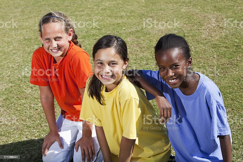 Portrait of girls outdoors stock photo