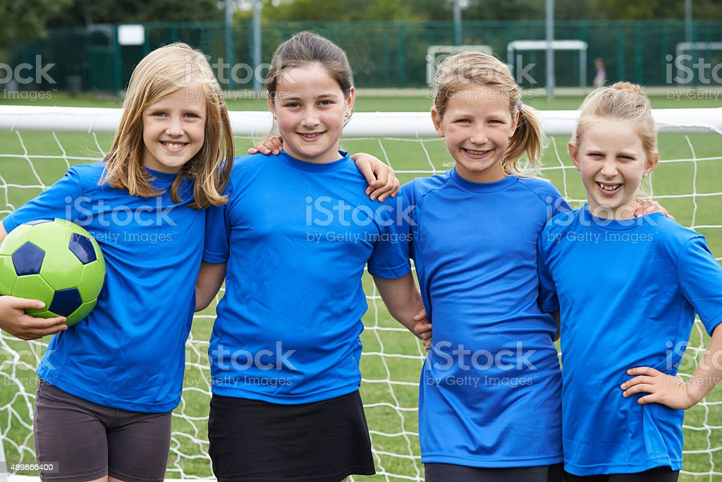 Portrait Of Girl's Soccer Team stock photo