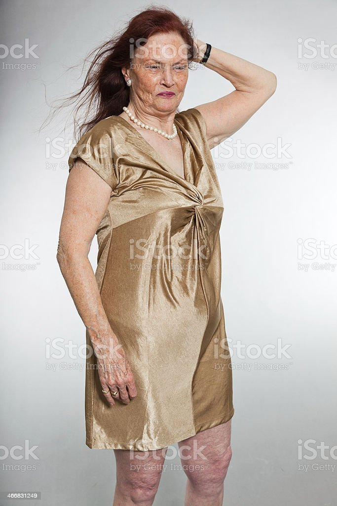 Portrait of good looking senior woman showing emotions. royalty-free stock photo