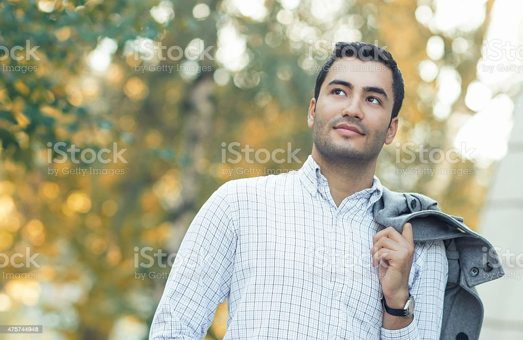 Portrait of gorgeous young man. Outdoor - outside stock photo
