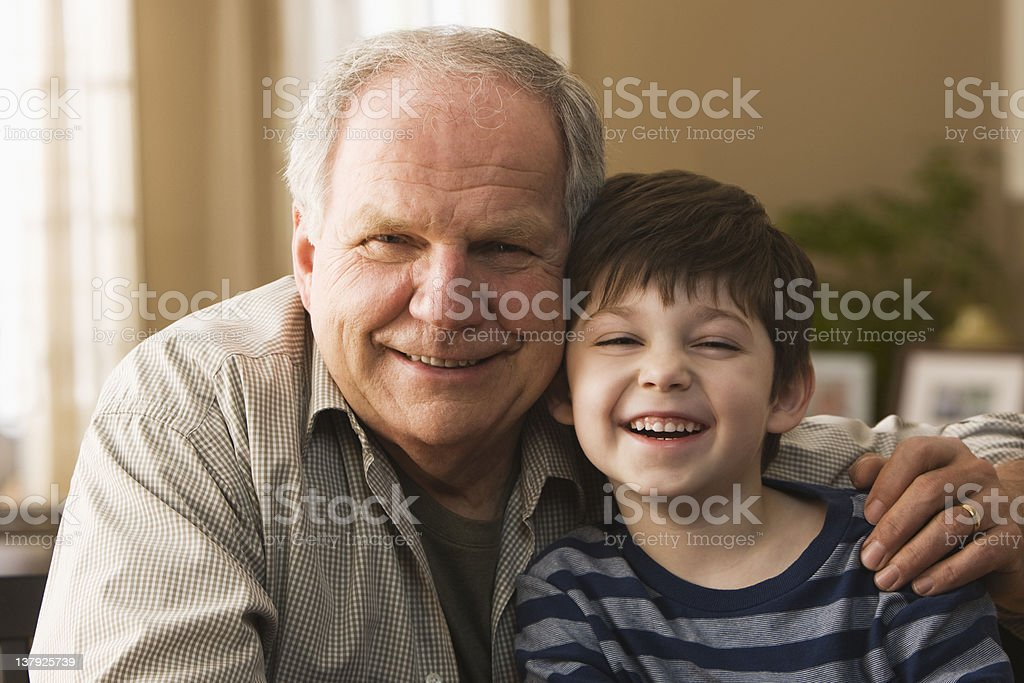 Portrait of grandfather and grandson royalty-free stock photo