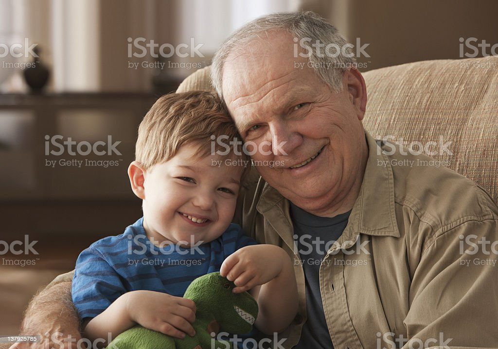 Portrait of grandfather and grandson stock photo
