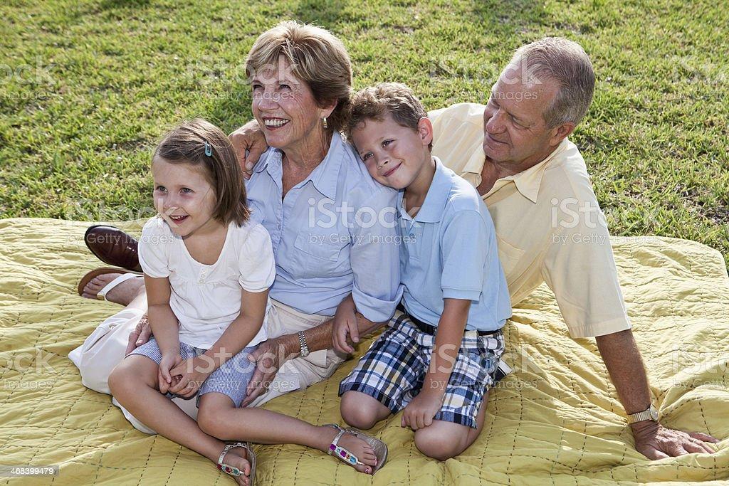 Portrait of grandparents and grandchildren royalty-free stock photo