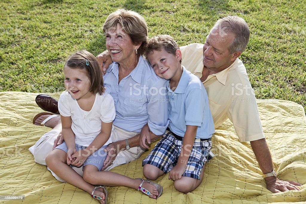 Portrait of grandparents and grandchildren stock photo