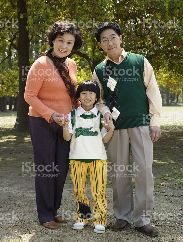 Portrait of grandparents with grandson royalty-free stock photo