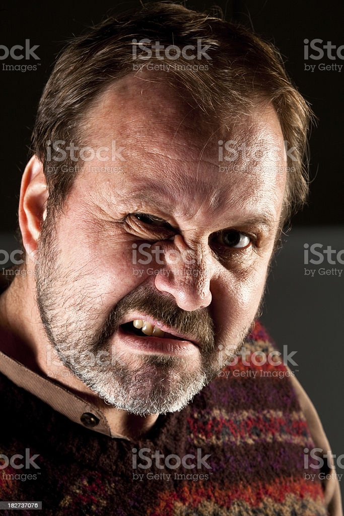 Portrait of graying bearded man with a mean expression. royalty-free stock photo