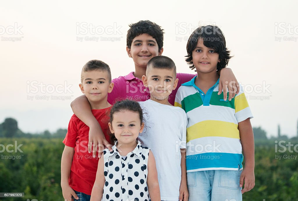 Portrait of group of children stock photo