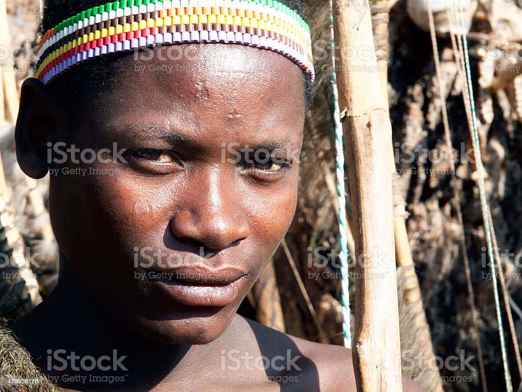 Portrait of Hadzabe (or Hadza) young bushman stock photo